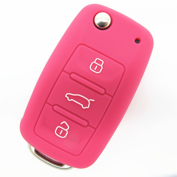 Skoda car key covers,colored silicone car key case,cheap car key shell,with logo,good toughness car key set