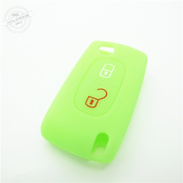 Citroen car key covers,best quality silicone car accessories, silicone car key case for Citroen, with 2 button, glow green