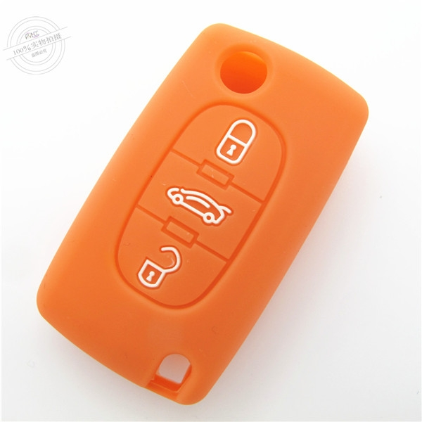 Peugeot car key covers, silicone car key case for Peugeot, silicone car key protector,orange