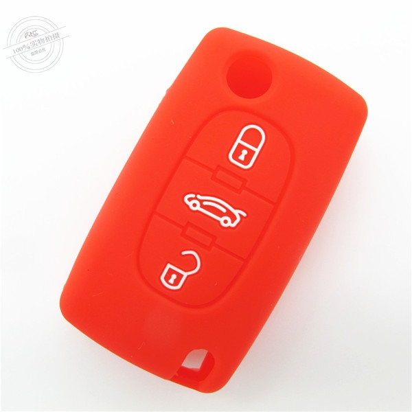 Peugeot car key covers, silicone car key case, good toughness car key protector, red, three buttons