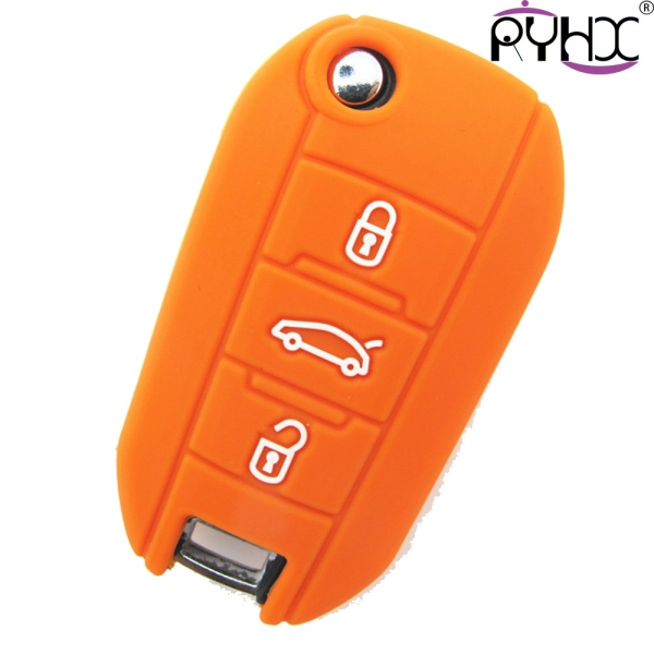 Peugeot car key covers, silicone car key case for Peugeot, hot sale car key fob covers,orange