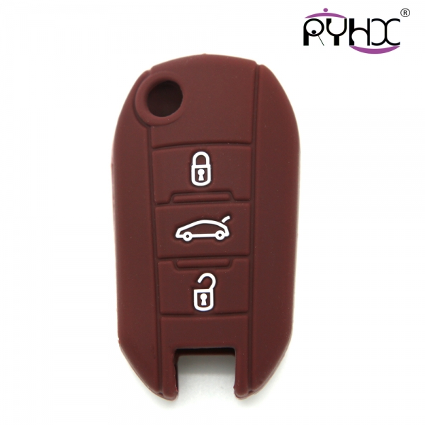 Peugeot key covers, silicone car key case, hot sale car key protector, brown, three buttons