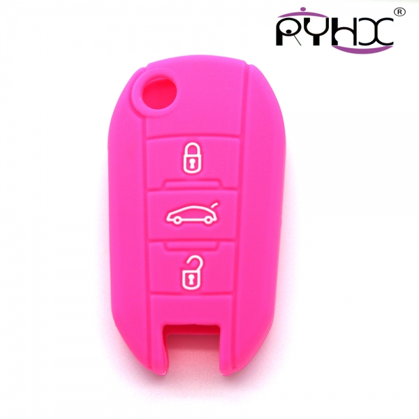 Peugeot car key covers, silicone car key case, dust-proof and waterproof car key protector,pink