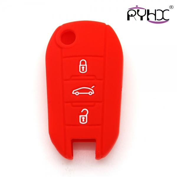 Peugeot key covers, non-toxic silicone car key case, waterproof silicone key protector