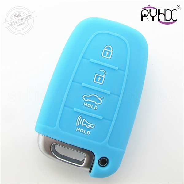Hyundai car key silicone protective covers, suitable silicone key case for Hyundai, multi-colors car key silicone shell, skyblue