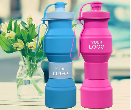 CUSTOM foldable water bottles,BPA Free,soft silicone and rubber.
