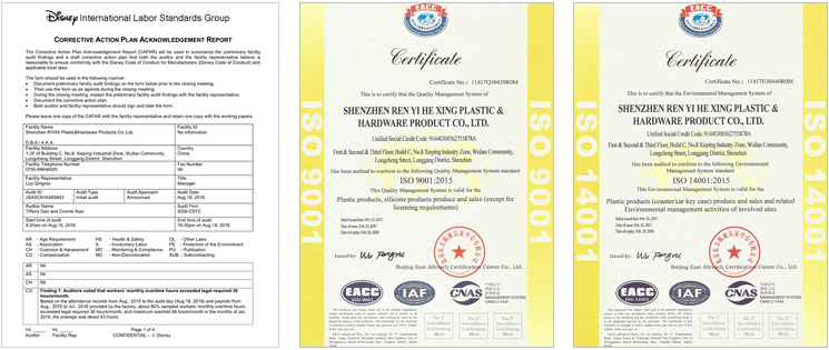 Honors Certification Of Shenzhen RYHX-Disney,SGS,ISO9001,ISO14001